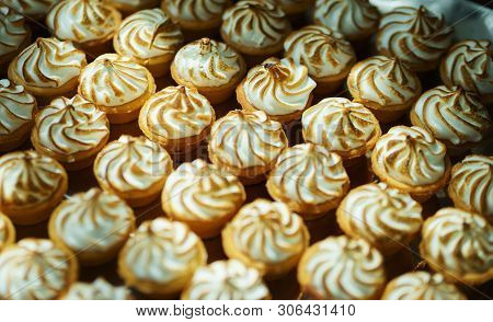 Sweet Desserts And Pastries On The Table During The Event. Catering Servicing Of Guests And Particip