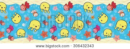 Cute Border With Yellow Jellyfish And Orange Starfish Playing With Bubbles. Seamless Vector Pattern