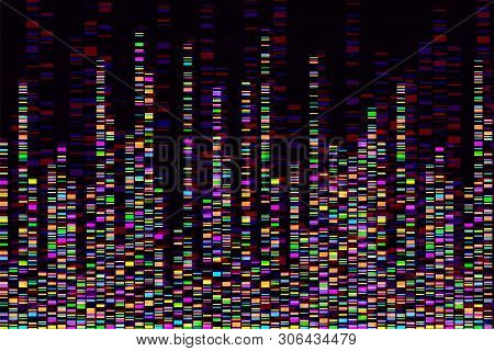 Dna Test Infographic. Vector Illustration. Genome Sequence Map. Template For Your Design. Background