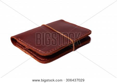 Handmade Red Color Leather Cardholder With Rubber Band Isolated On White Background Closeup. Stock P