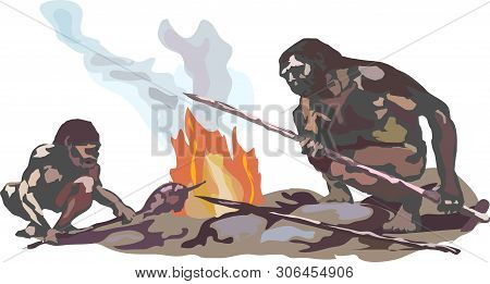 Two Neanderthals. Two Cavemen Are Sitting On Stones By The Smoking Fire Holding Spears In Their Hand