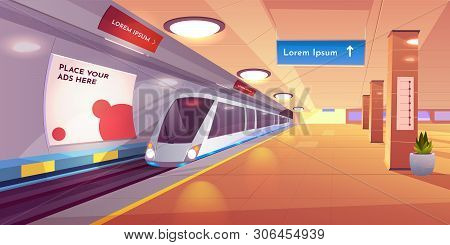 Train In Metro Station, Empty Subway Platform, Underground Interior With Map And Ads Banners. Modern