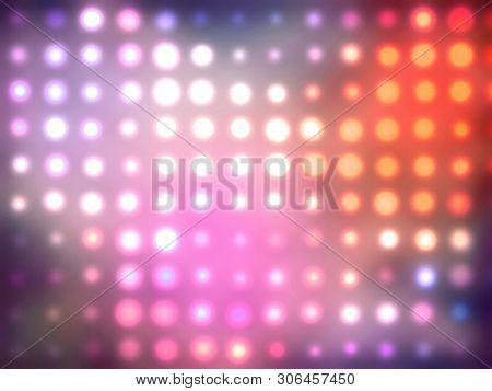 Abstract Purple Kaleidoscope Glowing Defocused Confetti Pattern. Comic Background.