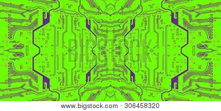 Green Circuit Board Symmetrical Pattern As Abstract Technology Background. Digitally Altered Image.