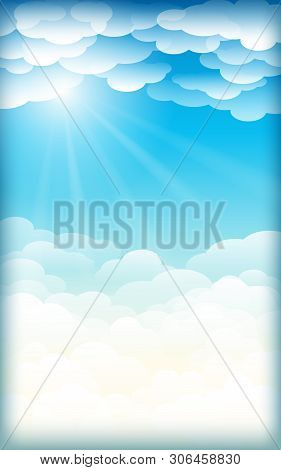 Clouds In The Sunlight.beautiful Skies,  Cloudy Sky Vector Background Illustration.card Or Backgroun