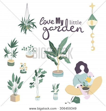 Long Haired Woman Sitting Among Potted Plants And Zero Unread Messages Notification Symbols. Concept