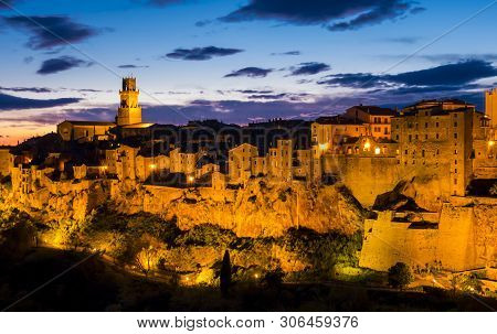 Stunning View Of Pitigliano At Dusk, Mediaeval Town In Tuscany, Italy