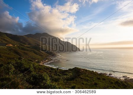 Sunset At The Coastline Around Chapmans Peak Drive, Cape Town, South Africa