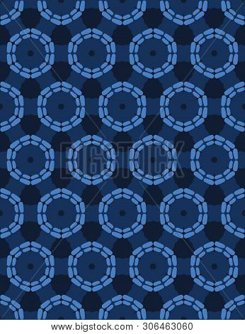Indigo Blue Abstract Organic Cut Dotty Circles. Vector Pattern Seamless Background. Hand Drawn Textu