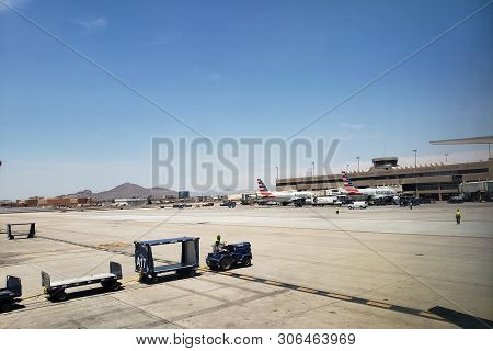 Phoenix, Az, Usa - June 12, 2019: Airplanes Painted In American Airlines Livery Parked At Terminal 4