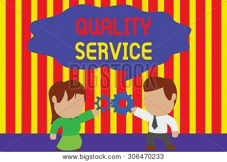 Writing note showing Quality Service. Business photo showcasing how well delivered service conforms to clientexpectations Young couple sharing gear Man tie woman skirt relation. poster