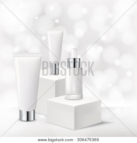 Cosmetic Product Mockup Design Template. Vector Realistic 3d Illustration Of Cream, Mask, Serum Pack