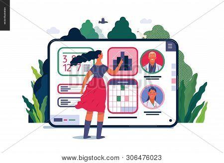Medical Insurance - Medical Application -modern Flat Vector Concept Digital Illustration - Female Us
