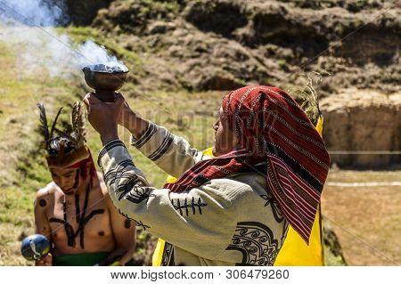San Andres Semetabaj, Lake Atitlan, Guatemala - November 10, 2018:  Maya Shamen In Ceremonial Dress