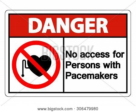 Danger No Access For Persons With Pacemaker Symbol Sign Isolate On White Background,vector Illustrat