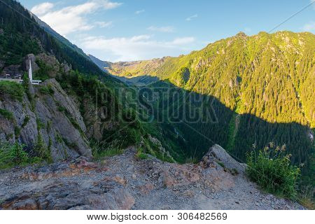 Fagaras Mountain Ridge In The Morning. Rocky Formations In Sunlight. Beautiful Summer Scenery. Casca