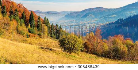 Sunny Autumn Panorama Of  Countryside. Fog In The Distant Valley. Trees In Fall Foliage On The Hills