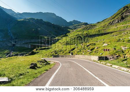 Transfagarasan The Most Beautiful Road In Romania. Amazing Transportation Scenery On Summer Morning.