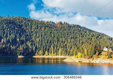 Belis Fantanele Reserve In Mountains Of Romania. Beautiful Body Of Water Scenery In Autumn. Spruce F