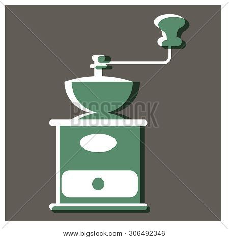 Handy Coffee Mill Flat Illustration. Home And Kitchen Decorative Series.
