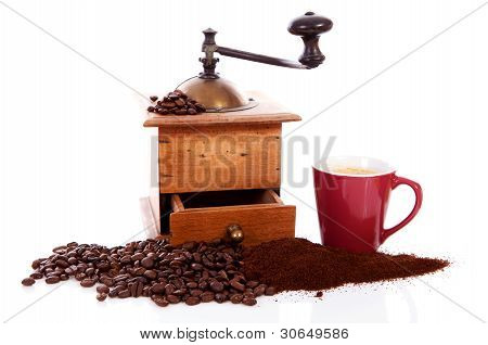 Old Wooden Coffee Grinder With Beans And Cup