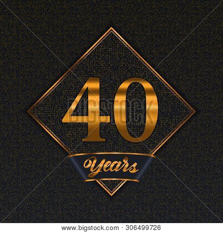 Golden Number  Forty Years (40 Years) Celebration Design. Anniversary Golden Number With Luxury Back