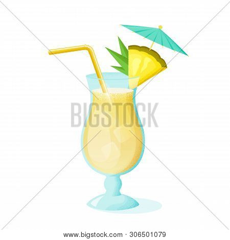 Pina Colada Cocktail With Pineapple Slice, Straw And Umbrella. A Glass Of Alcoholic Drink Isolated O