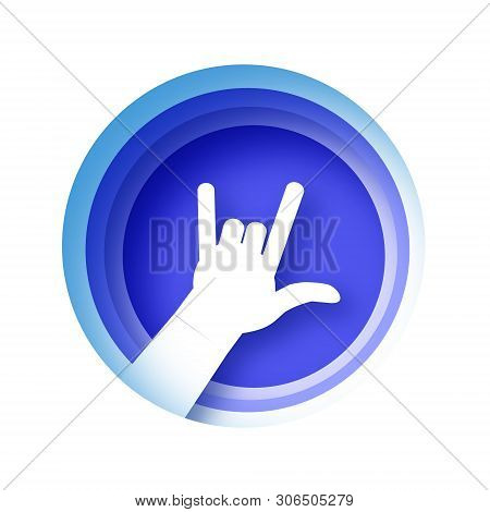 Heavy Metal Hand Gesture In Paper Cut Style. Origami Rock And Roll Sign. Hand I Love You. Rock N Rol