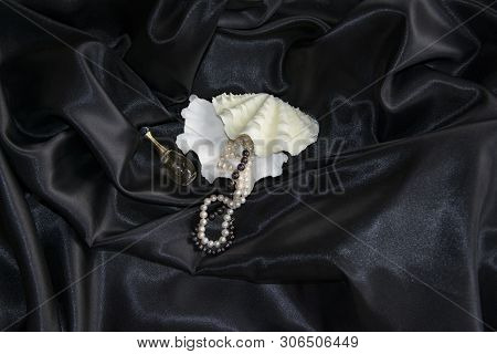 On Black Silk Are Figured Shells, Pearl Necklaces, Perfume, Fashion Concept