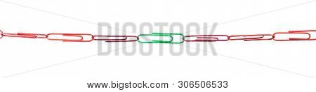 Paper Clips concept, strategy for the group are teamwork and cohesion, Panorama poster