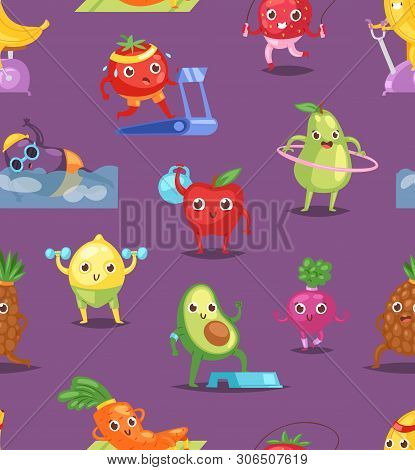 Fruits Sportsman Vector Fruity Expression Of Sporting Cartoon Character Workout Doing Fitness Exerci