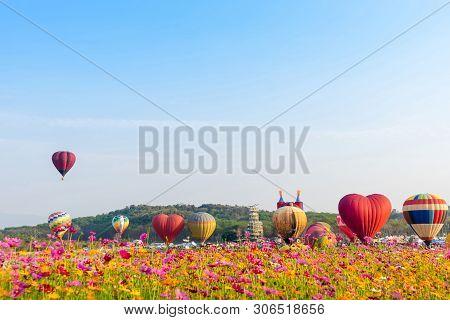 Colourful Hot Air Balloons Flying At  Singh Park In Chiang Rai, Thailand.