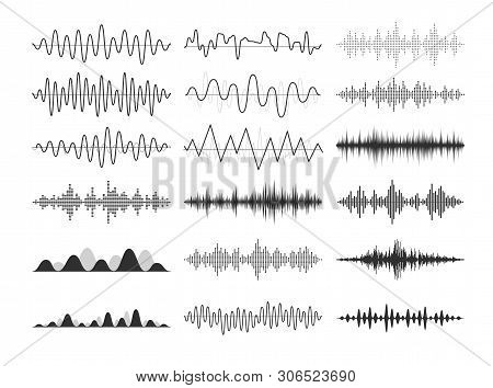 Black Musical Sound Waves. Audio Frequencies, Musical Impulses, Electronic Radio Signals, Radio Wave