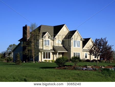 Home With Spring Landscaping