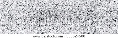 White Painted Rough Stone Wall Wide Texture. Whitewashed Pebble Dash Large Panoramic Background