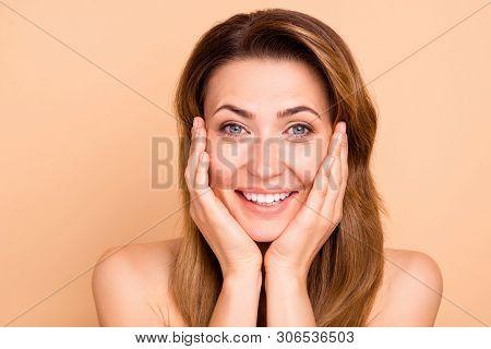 Close Up Photo Beautiful Amazing Mature She Her Lady White Teeth Hands Arms Cheeks Cheekbones Show G