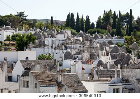 Roof Stones Trulli Of Alberobello. Puglia, Southern Italy. Some Roofs With The Ancient Technique Of