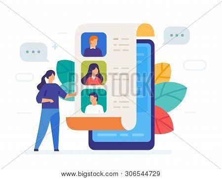Phonebook, Contacts Icon, Illustration. Smartphones Tablets User Interface Social Media.flat Illustr