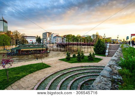 Nis, Serbia - November 4, 2018: City Of Nis Landmark View By The Nisava River On A Calming Sunset In