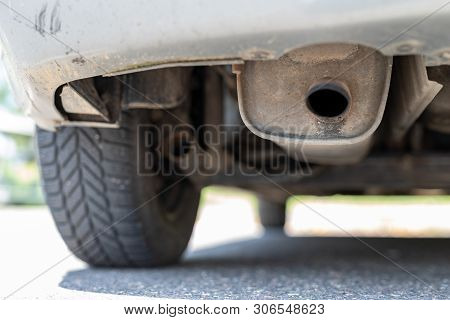 Exhaust Pipe And Car Silencer. The Car's Exhaust System.