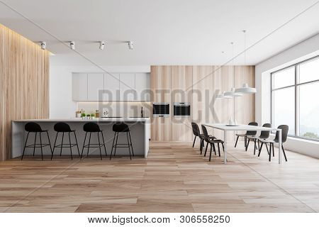 Wooden And White Kitchen, Counters, Table And Bar
