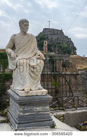 Corfu, Greece - 20 May 2019: Statue Of Frederick North, 5th Earl Of Guilford Outside Old Fortress