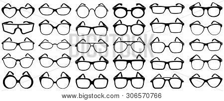Glasses Silhouette. Rim Sunglasses, Spectacle Frame And Eyewear Silhouettes. Woman And Man Glasses,