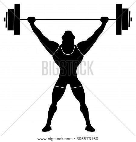 Weightlifter Weight Lifter With A Raised And Fixed Weight. Barbell In The Hands. Vector Illustration