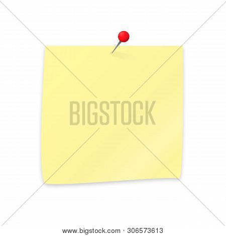 Empty Sticker And Pushpin Isolated On White. Yellow Sticky Note Paper Clipping With Red Push Pin. St