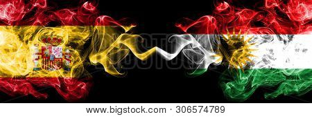 Spain Vs Kurdistan, Kurdish Smoky Mystic Flags Placed Side By Side. Thick Colored Silky Smokes Flag