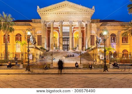Palermo, Sicily - March 22, 2019: Teatro Massimo Front View In Piazza Verdi At Dusk In Palermo