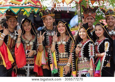 Kota Kinabalu, Malaysia - May 31, 2019: Kota Belud Kadazan Dusun Borneo Native With Traditional Atti