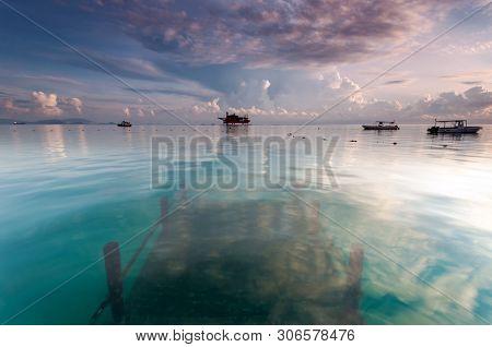 Seascape View Mabul Kapalai Island In Sabah Borneo Malaysia