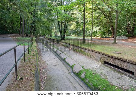 Park Downtown Luxembourg City With Footpath Along Petrusse Creek, Affluent Of Alzette River